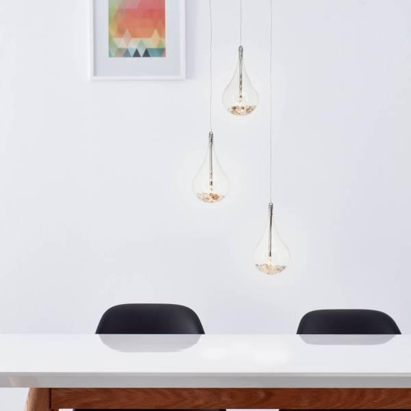 Lightbox LED Pendelleuchte 3 flammig, mit Glasperlen gefüllt, höhenverstellbar, G4 Fassung mit 5 Watt Leuchtmitteln, Glas/Metall - Chrom, transparent