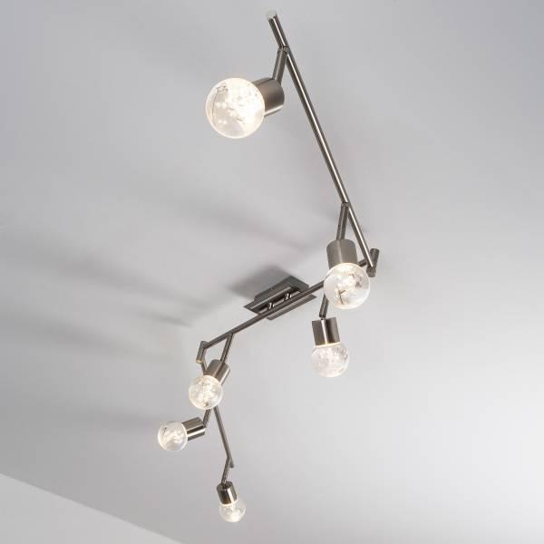 LED Spotbogen, 6-flammig (Z-Form), 6x 4W LED integriert, 6x 400 Lumen, 3000K, Metall / Glas, eisen