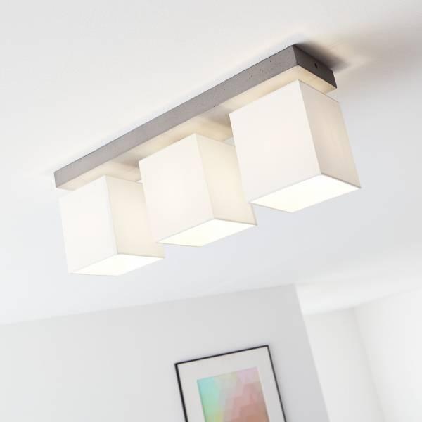 Deckenleuchte, 3-flammig, 3x E27 max. 40W, Beton / Textil, beton / weiß