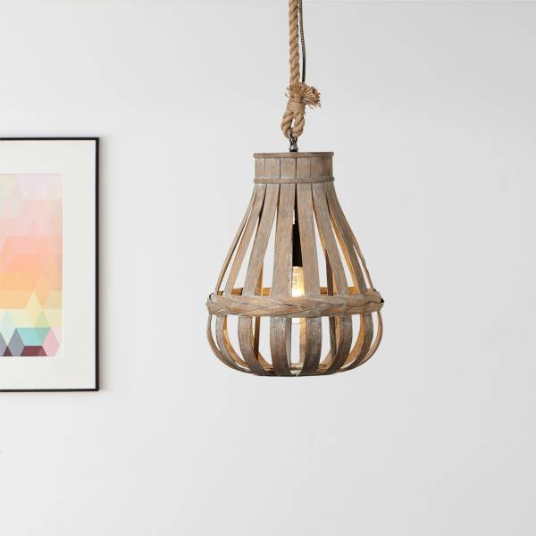 Lightbox Hängelampe Pendelleuchte Nature-Style 33cm Durchmesser Seil kürzbar 1x E27 Bambus/Metall, natur
