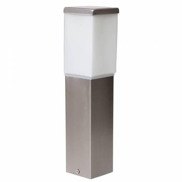 Schlichte Außensockelleuchte, IP44 Spritzwassergeschützt, 1x E27 max. 60W, Metall / Glas, edelstahl