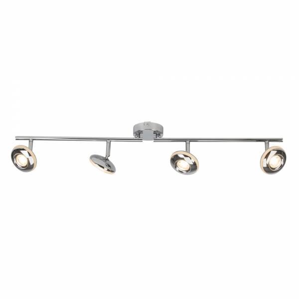 Moderner LED Spotbalken / Deckenleuchte im modernen Design, 3x LED GU10 5W inkl., Metall, chrom, Metall / Kunststoff, chrom