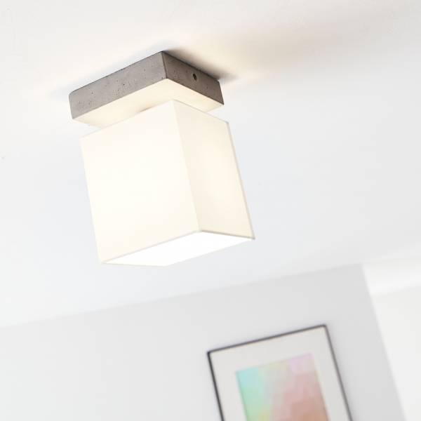 Deckenleuchte, 1-flammig , 1x E27 max. 40W, Beton / Textil, beton / weiß
