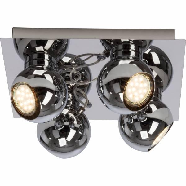 Moderne LED Spotplatte / Deckenleuchte, 4x 3W GU10 LED inkl., 4x 250 Lumen, 3000K warmweiß, Metall, chrom