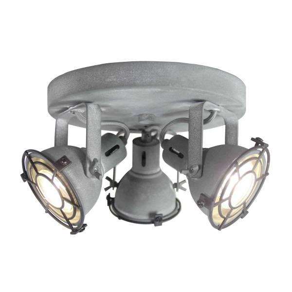 LED Spotrondell, 3-flammig, 3x 4W LED-Reflektorlampen inklusive, 3x 350 Lumen, 3000K, , Metall, grau Beton