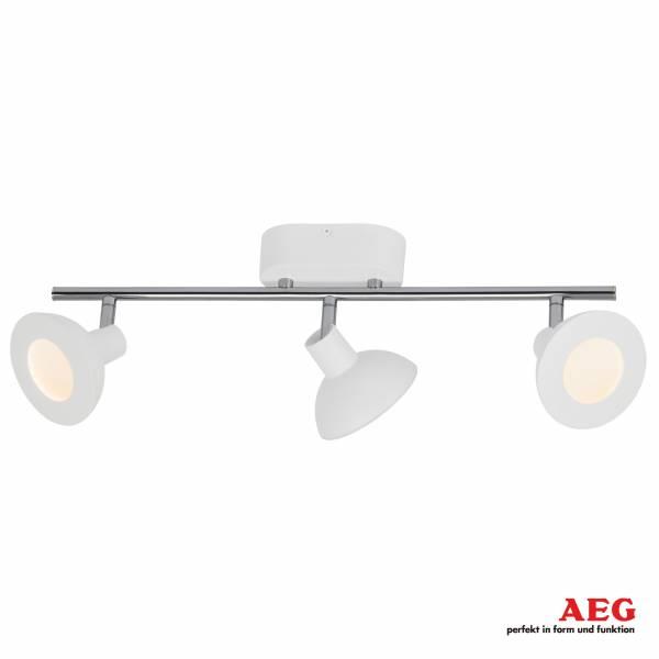 AEG LED Spotrohr, 3-flammig, 3x 5W LED integriert, 3x 500 Lumen, 3000K, , Aluminium / Kunststoff, weiß / chrom