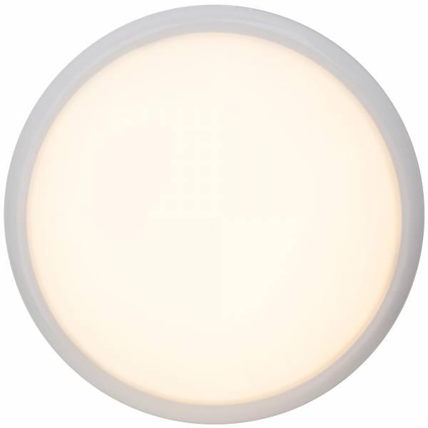 Praktische 15W LED Deckenleuchte im schlichten Design, Ø 33cm, 850 Lumen, 2800K warmweiß, Metall / Kunststoff, weiß