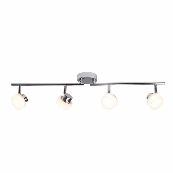 LED 4x 5W Spotbalken im eleganten Design, 4x 320 Lumen, 2800K warmweiß, Metall / Kunststoff, chrom