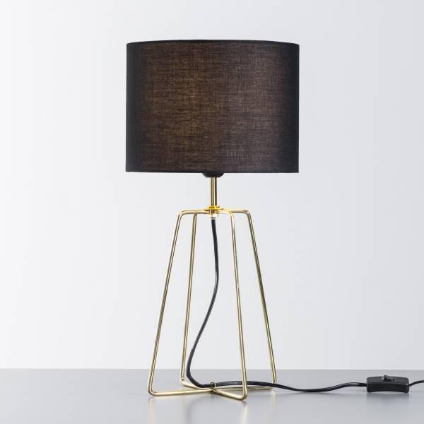 Tischleuchte, 1x E27 max. 60W, , Metall / Textil, schwarz / gold