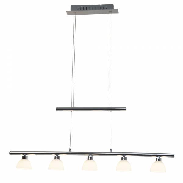 Moderne LED Pendelleuchte, höhenverstellbar, 5x 5W LED, 5x 260 Lumen, 3000K warmweiß, Metall / Glas, chrom / weiß