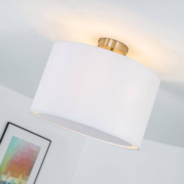 Deckenleuchte im modernen Design, Ø 41 cm, 5x E27 max. 25W, Metall / Textil, weiß
