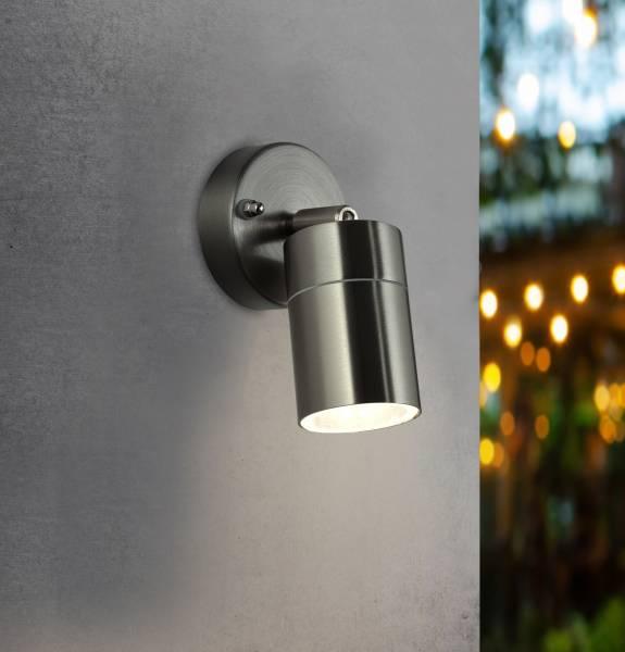 Außenwandleuchte, spritzwassergeschützt nach IP 44, 1x GU10 max. 10W, Metall / Glas , Edelstahl