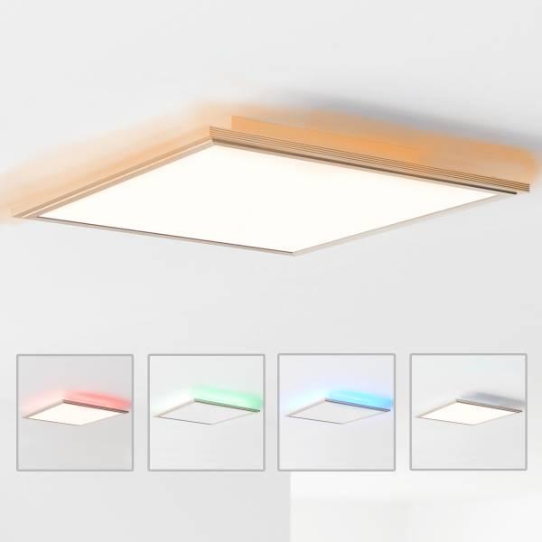 LED Panel Deckenleuchte, RGB-Hintergrundbeleuchtung 42x42cm, 32 Watt, 2500 Lumen, 2700-6200 Kelvin aus Metall / Acryl in nickel eloxiert