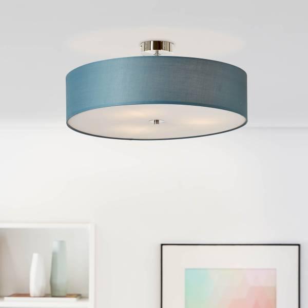 Lightbox Deckenleuchte 3 flammig, Deckenlampe mit Textilschirm, Ø 60 cm, E27 Fassung für max. 60 Watt Leuchtmittel, Metall/Textil - Petrol/Chrom
