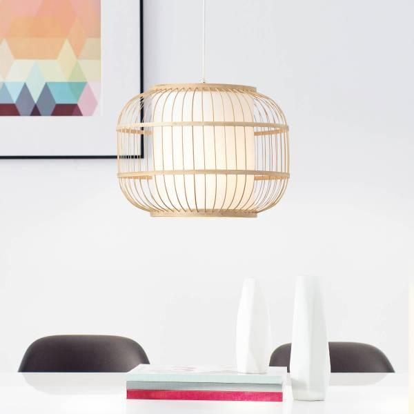 Lightbox Pendelleuchte, Hängeleuchte Bambus, Ø 40cm E 27 Fassung für max. 40 Watt Leuchtmittel, mit Textil-Bambus-Lampenschirm