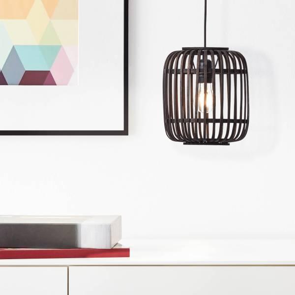 Lightbox Pendelleuchte, Hängeleuchte aus echtem Rattan, 1x E27 max. 40 Watt aus Metall / Rattan in holz dunkel / schwarz