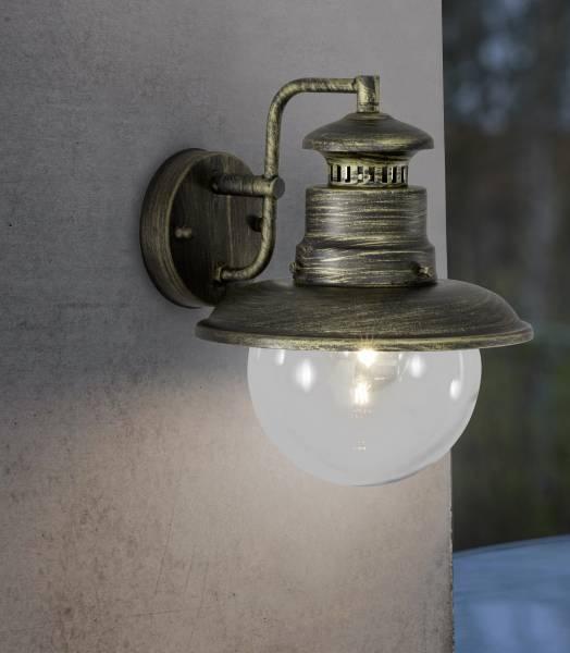 Außenwandleuchte, spritzwassergeschützt nach IP 44, 1x E27 max. 60W, Metall / Glas , Edelstahl