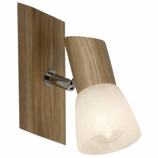 Wandspot, 1x E14 max. 28W, , Holz / Glas, eiche / weiß-alabaster