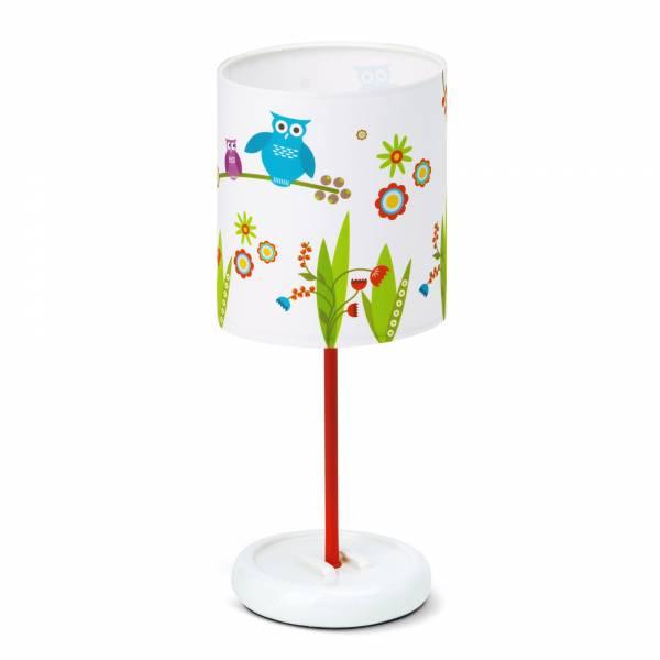 LED Tischleuchte Birds, Lampenschirm mit Eulen, H: 32 cm, Ø 12 cm, 0,72W LED integriert, Metall / Kunststoff, weiß / rot-bunt