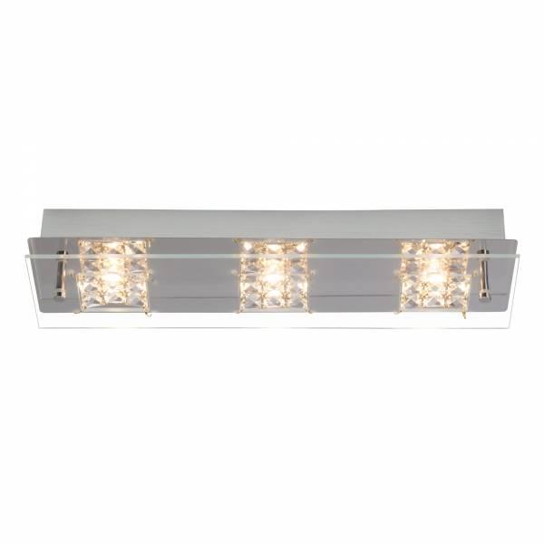 LED Wand- und Deckenleuchte mit Kristallapplikation, 3x 5W, 420 Lumen, 3000K warmweiß, Metall / Glas, chrom / transparent