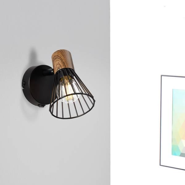 Lightbox Wandstrahler mit Schalter, 1x E14 max. 18 Watt, Metall / Holz, holz dunkel / schwarz matt