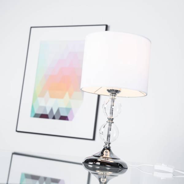 Dekorative Tischleuchte mit Textilschirm & Glaskugeln, 1x E27 max. 60W, Metall / Glas / Textil, chrom / weiß