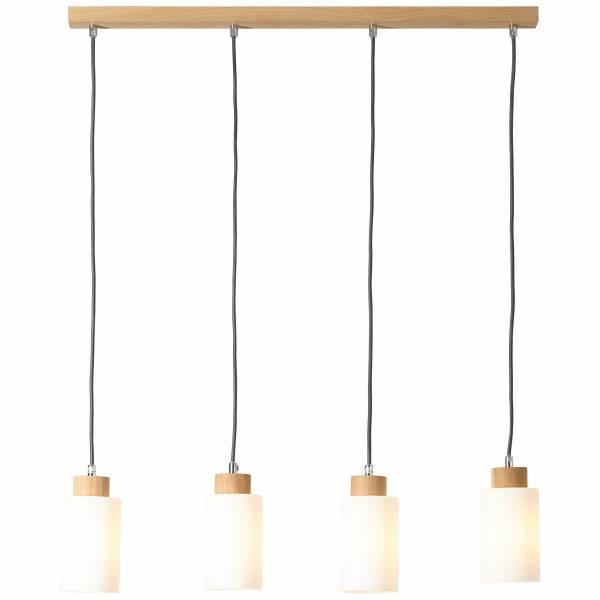 Pendelleuchte, 4-flammig, 4x E27 max. 60W, Holz / Glas, eiche / weiß