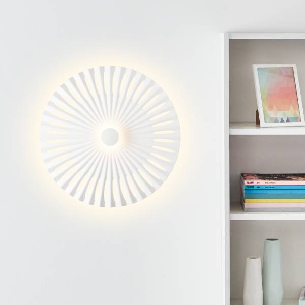 Dekorative LED Wandleuchte Ø40cm, 12 Watt, 1282 Lumen, 3000 Kelvin, Aluminium / Kunststoff, weiß