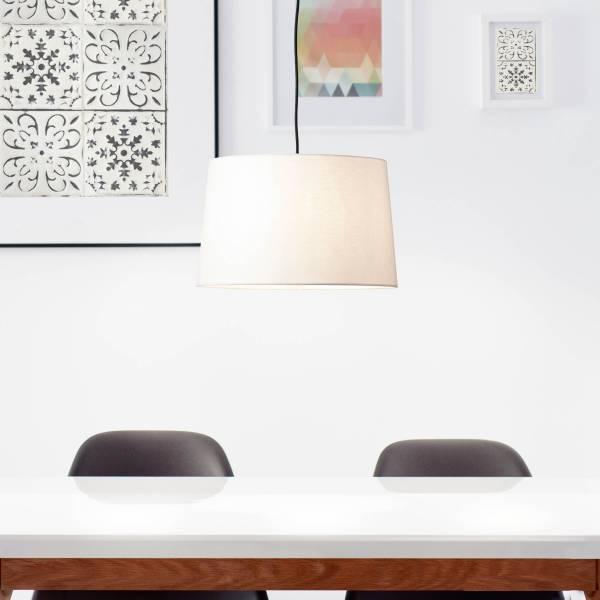 Lightbox Pendelleuchte, 1-flammig, klassische Pendellampe mit Textilschirm, 1x E27 Fassung für max. 40 Watt - Metall/Textil, creme weiß