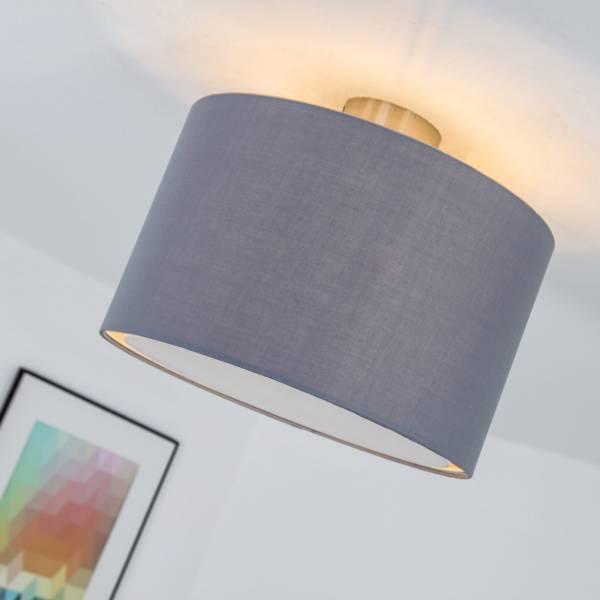 Deckenleuchte im modernen Design mit Textilschirm, 1x E27 max. 60W, Metall / Textil, eisen / grau