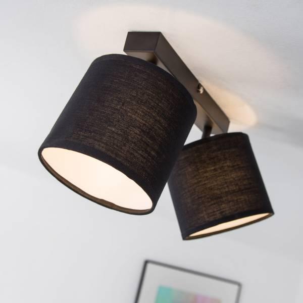 Moderne Deckenleuchte mit Textilschirm, 2-flammig, G9 max. 40W, Metall / Textil, schwarz matt