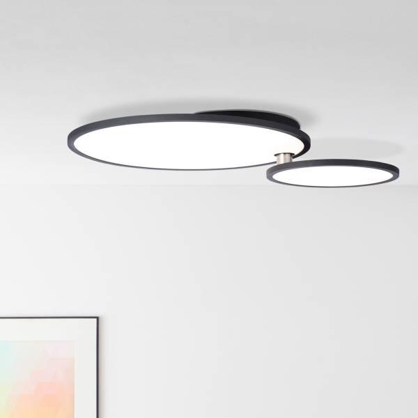 LED Panel Deckenleuchte mit Easydim Funktion Ø45cm, 36 Watt, 3960 Lumen, 3000 KelvinMetall / Kunststoff, schwarz / weiß