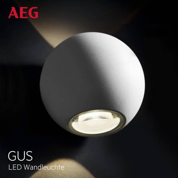 AEG LED Wandleuchte, 2-flammig, 2x 3W LED integriert (SMD-Chip), 2x 144 Lumen, 3000K, Aluminium-Druckguss / Glas, weiß
