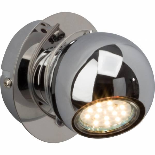Moderner LED Wandspot, 1x 3W GU10 LED inkl., 250 Lumen, 3000K warmweiß, Metall, chrom