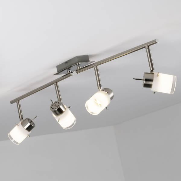 LED Spotrohr, 4-flammig, drehbar, 4x 4W LED integriert, 4x 400 Lumen, 3000K, Metall / Glas, eisen