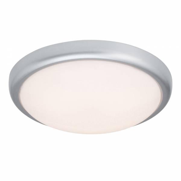 Praktische 15W LED Deckenleuchte im schlichten Design, Ø 33cm, 850 Lumen, 2800K warmweiß, Metall / Kunststoff, titan / weiß