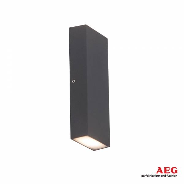 LED Außenwandstrahler, 2x 3W LED integriert, 2x 250 Lumen, 3000K warmweiß, Aluminium / Kunststoff, anthrazit / weiß