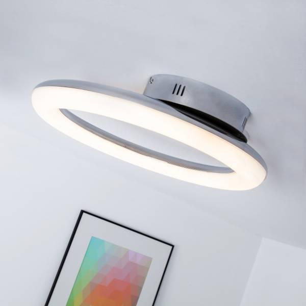 LED 24W Deckenleuchte in moderner Ringform, dimmbar, 1500 Lumen, 3000K warmweiß, Ø 43cm, Metall / Kunststoff, chrom / weiß