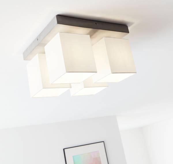 Deckenleuchte, 4-flammig, 4x E27 max. 40W, Beton / Textil, beton / weiß