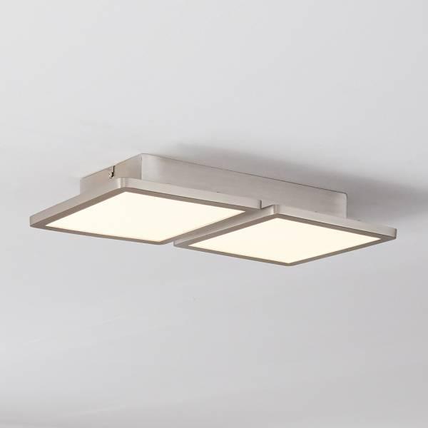 Smarte LED Panel Deckenleuchte per App steuerbar, 41x20cm, 2x 14 Watt, 2x 900 Lumen, 2700-6200 Kelvin aus Metall / Kunststoff in nickel eloxiert