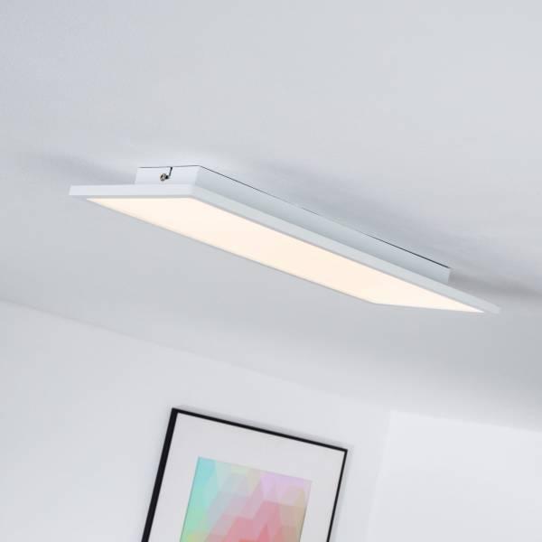 LED Panel für Deckenaufbau, dimmbar, 45 x 20 cm eckig, 1x 20W LED integriert, 2000 Lumen, 3000K warmweiß, Metall / Kunststoff, weiß