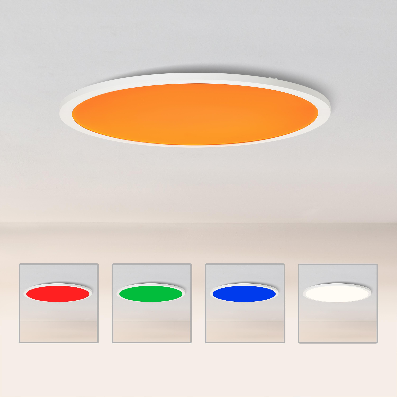 LED Panel Deckenleuchte, Ø20cm, 20 Watt, RGB Farbwechsel per Fernbedienung  steuerbar, 20 20 Kelvin, Metall/Kunststoff, Weiß