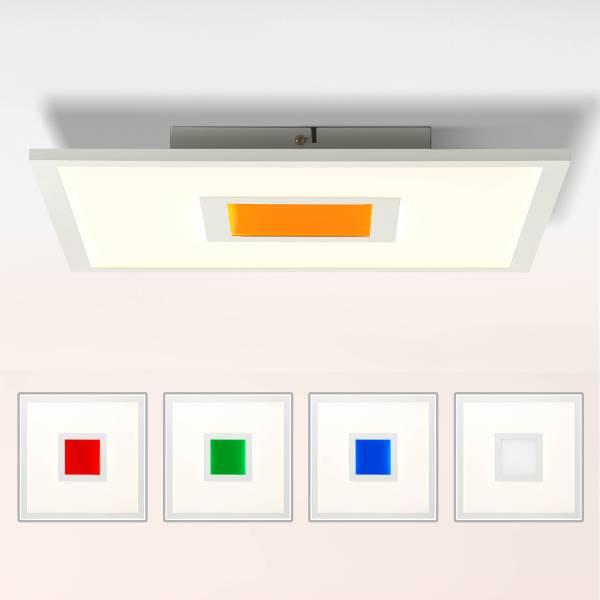LED Panel Deckenleuchte, 40x40cm, 25 Watt, RGB Farbwechsel per Fernbedienung steuerbar, 2700-6500 Kelvin; Metall/Kunststoff, Weiß