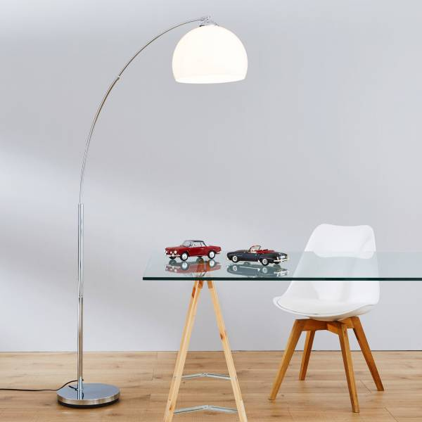 Moderne Bogenleuchte in Chrom mit Kunststoffschirm, H 166 cm, 1x E27 max. 60W, Metall / Kunststoff, chrom / weiß