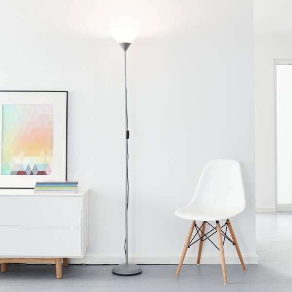 Klassischer LED Deckenfluter, 1x 10W E27 LED inkl., 810 Lumen, 2700K warmweiß, Metall / Kunststoff, silber / weiß