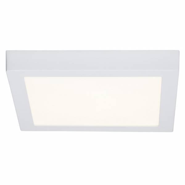 Moderne 24W LED Deckenleuchte im schlichten Design quadratisch, 2.160 Lumen, 3000K, 30 x 30 cm, Metall / Kunststoff, weiß