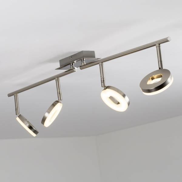 LED Spotrohr, 4-flammig, drehbar, 4x 6W LED integriert, 4x 480 Lumen, 3000K, Metall / Kunststoff, eisen