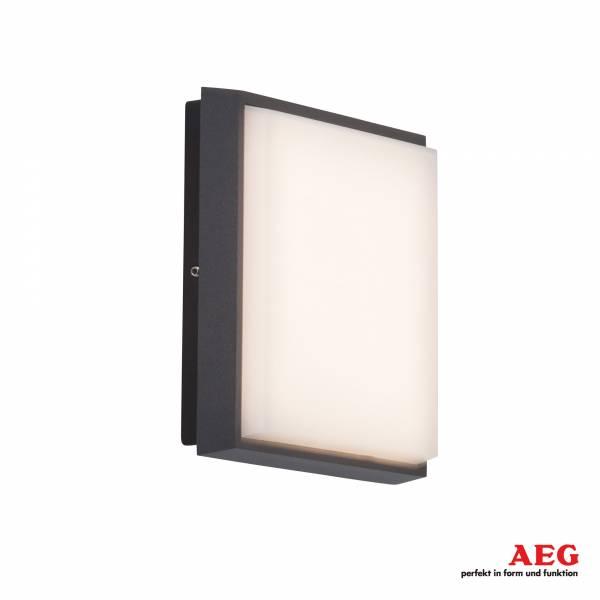 LED Außenwand- und Deckenleuchte eckig, 1x 9W LED integriert, 1x 900 Lumen, 3000K warmweiß, Aluminium / Kunststoff, anthrazit / weiß