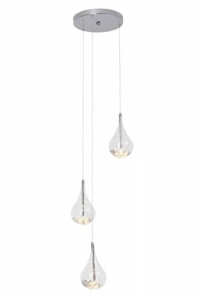Elegante Pendelleuchte in Tropfenform , 3x 20W G4, 3x 255 Lumen, 2800K warmweiß, Metall / Glas, chrom / transparent