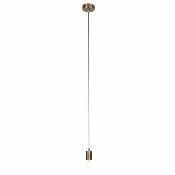 Modernes Kupfer Pendel / Lampenfassung mit Textilkabel, schlichtes Design, 1x E27 max. 60W, H 118cm, Metall, messing antik